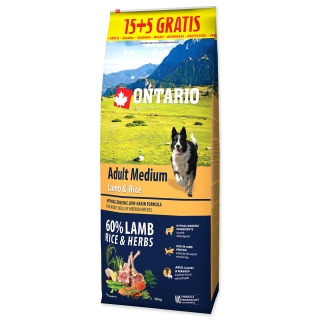 ONTARIO Dog Adult Medium Lamb & Rice 15+5 kg 20kg