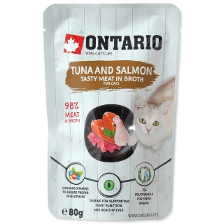 Kapsička ONTARIO Cat Tuna and Salmon in Broth 80g