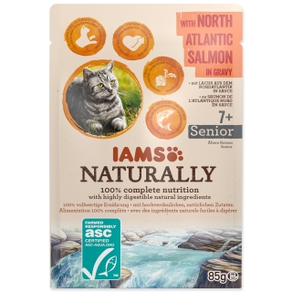 Kapsička IAMS Cat Naturally Senior with North Atlantic Salmon in Gravy 85g